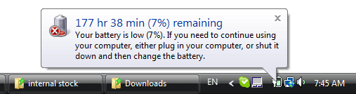 177 hours 38 min (7%) remaining - your battery is low.