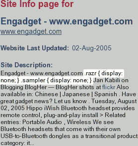 A screenshot highlighting the inclusion of information between style tags in Ansearch's index