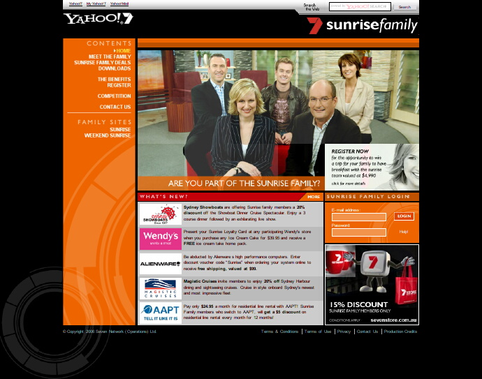 A screen capture of the Sunrise Family website