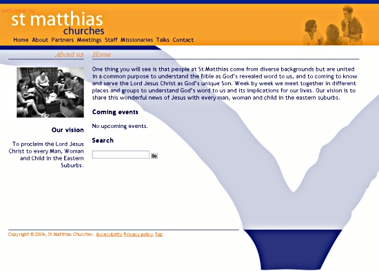 Screenshot: New St Matthias website