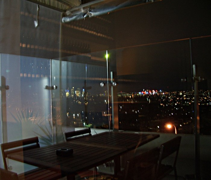View from Kelly's Steakhouse, Bondi Junction, towards Sydney city at night