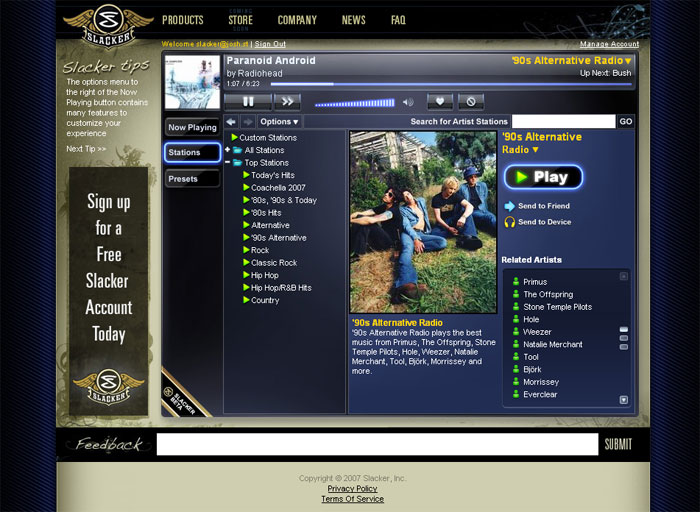Slacker Radio Beta screenshot