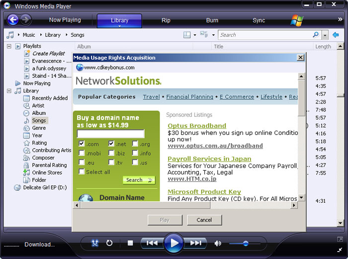 cybersquatters on media usage rights acquisition page in windows media player