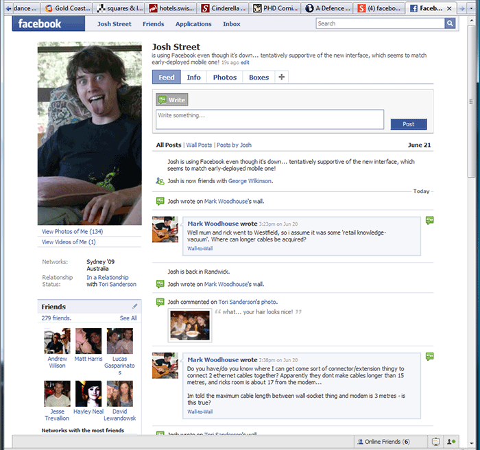 Screenshot of Facebook's new June 2008 interface